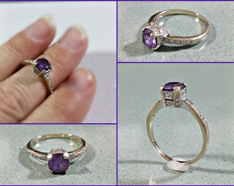 Vintage 18K White Gold Ring Diamond Amethyst Ring Size 7 Purple Amethyst Focal Stone Lots of Tiny Sparkling Diamond Accents Simple Elegance