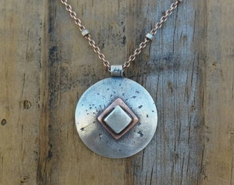 Sterling Silver and Copper Geometric Inspiried Necklace