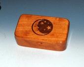 Moon & Stars Laser Engraved Cherry Wood Treasure Box, Gift Box, Trinket Box, Stash Box- Small Wooden Box by BurlWoodBox- Handmade Small Box