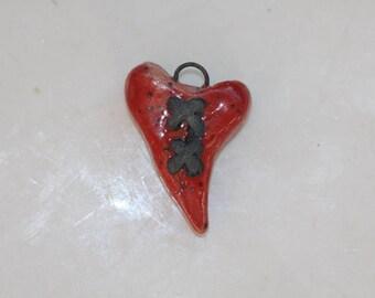 Stiched Heart pendant Ceramic heart  Handmade heart clay heart steampunk heart bead organic earthy artisan jewelry supplies potterygirl