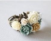 Black Friday SALE Flower Cuff Bracelet - pastel bouquet bracelet. vintage wedding jewelry. bridesmaid gift. spring jewelry