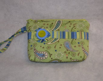 READY To SHIP  Quilted Wristlet / Cosmetic Bag/Camera Case/Diabetic Supplies Bag by Quilted Creations By Me