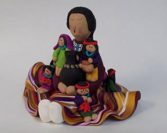 Mother's Day Native American Storyteller Doll clay sculpture