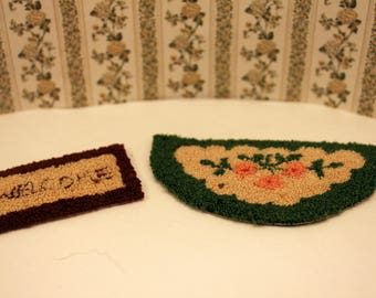 2 Miniature Dollhouse Area Rugs Vintage Handmade Punch Floral Half Circle Welcome