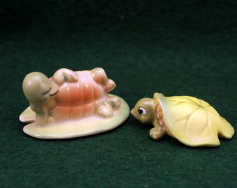 Pair Josef Original Turtle Figurine Napping on Lily Pad Baby Turtle under Lily Pad T