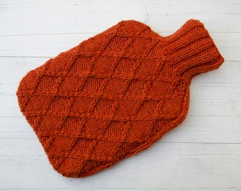 Hot water bottle Cover Knitted in Orange Diamonds Textured pattern