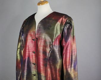 Womens Watercolor Rainbow Metallic Satin Jacket, Plus Size Vintage New Wave, 80s Glam, Cocktail Party, Formal, Modern Art, XL