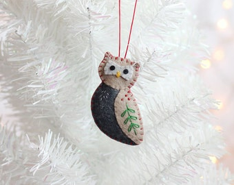 Owl Ornament, Handmade Christmas Ornament, Holiday Decoration, Bird Ornament, Christmas Decor, Hand-stitched, ready to ship, hostess gift
