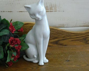OMC Japan White Porcelain Cat Figurine