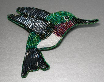 Ruby Throated Hummingbird Bead Embroidered Brooch