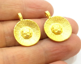 2 Gold Charm Gold Plated  Charms (18mm)  G6865