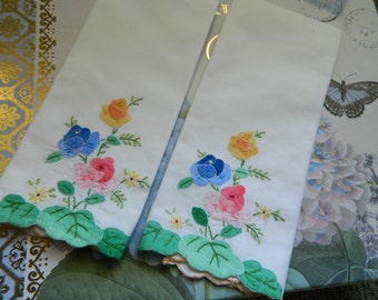 Two Embroidered Hand/Tea/Guest Towels