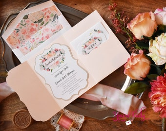 Sample - Peaches and Cream Watercolor Roses Die Cut Pocket Folder Wedding Invitation in soft coral and peach with Gold accents