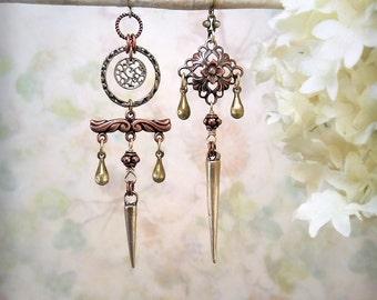 Phantom Traces Asymmetrical Mixed Metal Earrings Spike Earrings Dagger Earrings Rustic Copper Earrings Tribal Earrings Filigree Earrings