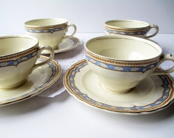 Vintage Teacups and Saucers English Grindley Monmouth Blue Gold Set of Four