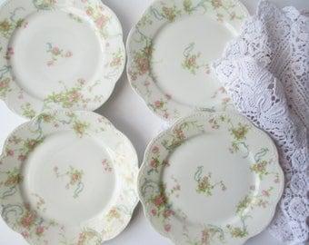 Vintage Limoges Bread and Butter Plates Pink Rose French Haviland Set of Four