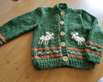 Hand Knitted Childs  Button Cardigan/ with Moose
