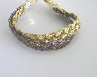 Moroccan  bracelet, woven gold and multicooured art silk, boho bracelet, summer bracelet
