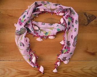 pink scarf, hairband bandana