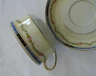 ONE Tea Cup/Saucer-Heinrich & Company, Selb, Bavaria-Bone China-Pattern-HC40-Art Deco-Listing is for ONE Set-12 Available