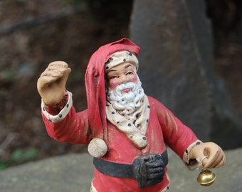 Antique Cartapesta 1930  Paper Mache Santa Claus with Bell ~ St. Nick ~ Made in Italy ~ Wonderful Antique Christmas Decor ~ Excellent