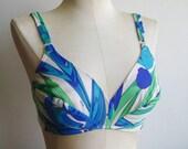 Vintage 60s Emilio Pucci Formfit Rogers Blue & Green Lingerie Bra size 34 C