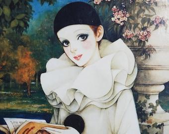 Vintage 80s Mira Fujita Clown in White Framed Print
