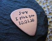 Personalized Guitar Pick - Copper, Aluminum, or Silver - Custom Guitar pick - Handstamped Guitar Pick - Customized Guitar Pick - Guitar Pic