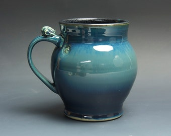 Pottery beer mug, ceramic mug, stoneware stein blue 26 oz 3700