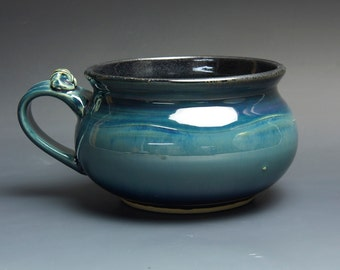 Sale - Handmade pottery soup mug ceramic chili mug glossy blue cereal bowl 24 oz  3710