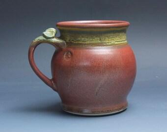Pottery beer mug, ceramic mug, extra large stoneware stein, iron red 24 oz 3877