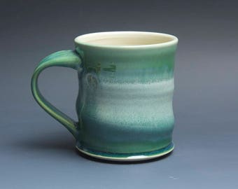 Sale - Pottery coffee mug, ceramic mug, stoneware tea cup jade green 14 oz 3939
