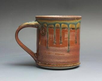 Handmade pottery coffee mug, ceramic mug, stoneware tea cup 12 oz mug glossy iron red  3993