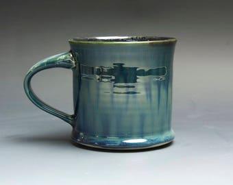 Pottery coffee mug, ceramic mug, stoneware tea cup navy blue green 14 oz 4002