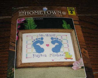 Baby Boy or Girl Footprints Hometown Collection Cross Stitch Kit