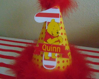 WWinnie the Pooh Birthday Personalized hat with name and age 1st Birthday-Disney 1st Birthday