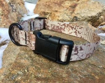 Dog Collar - Desert Digital Camo with Black Buckle