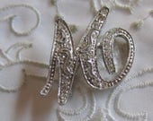 "Vintage Monet Silver Tone Initial ""M"" Brooch with Clear Rhinestones"