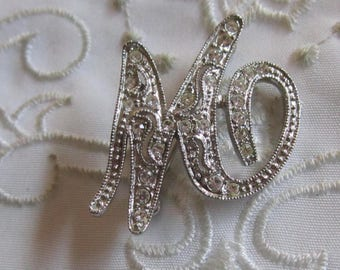 """Vintage Monet Silver Tone Initial """"M"""" Brooch with Clear Rhinestones"""