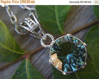ON SALE Green amethyst necklace in sterling silver