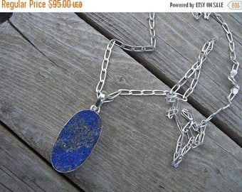 ON SALE Lapis necklace in sterling silver
