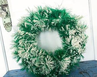 Vintage Flocked Bottle Brush Wreath Bottlebrush Green White Snow
