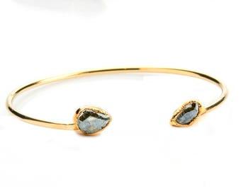 Dainty Gold Cuff Bracelet, Mystic Silverite Bracelet, Joy Dravecky, Delicate Bracelet,  Delicate Gold Bracelet, Pink Sapphire Bracelet