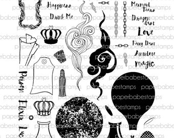 Bottle Of Stamp Set - Paperbabe Stamps - Clear Photopolymer Stamps - For paper crafting and scrapbooking.