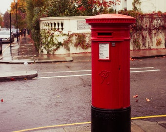 London Photo, Royal Mail, Red Post, England, UK art, Cityscape, Travel Photography, Home Decor, Anglophile, Street Photo, British Culture