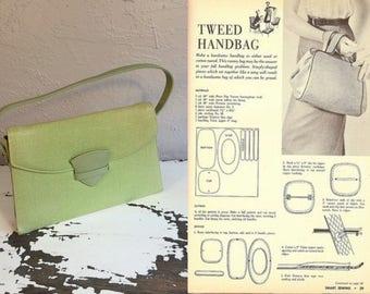 The Tweeds of Leeds - Vintage 1950s Bright Apple Green Tweed Fabric Purse Handbag
