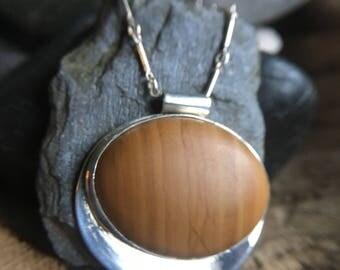 Wood Grain Jasper sterling Silver Echo Tab Pendant