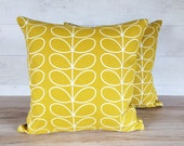 Orla Kiely Stem fabric mustard cushion cover 16 inches, 16x16, with zip, zipper, decorative pillow, linen.