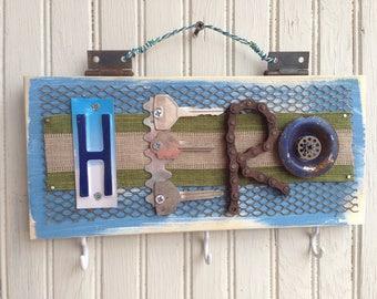 Handmade Salvaged Hardware Hero Sign//gift for Hero//wall decor