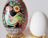 Year of the Rooster Chinese New Year 2017 pysanka  goose egg shell painted with wax batik work personalize this egg no extra cost